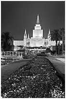 Oakland LDS temple and grounds by night. Oakland, California, USA ( black and white)