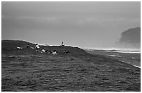 Surfers waiting for wave at Mavericks. Half Moon Bay, California, USA (black and white)