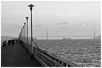 Berkeley Pier and Golden Gate Bridge at sunset. Berkeley, California, USA (black and white)