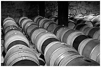 Wine casks in storage. Napa Valley, California, USA (black and white)