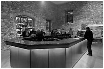 Wine tasting room, Hess Collection winery. Napa Valley, California, USA (black and white)