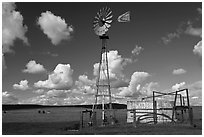 Windmill and clouds. California, USA (black and white)