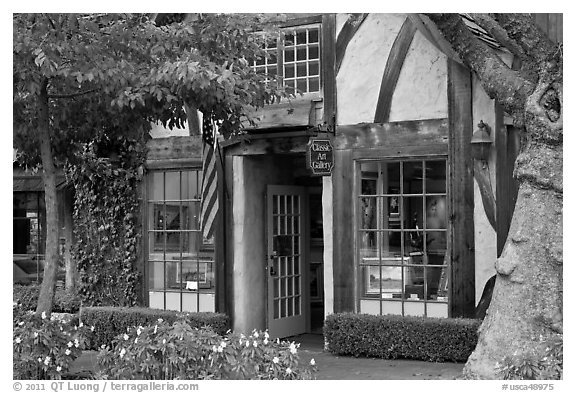 Art galleries. Carmel-by-the-Sea, California, USA (black and white)