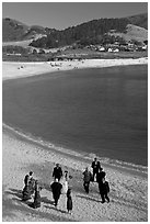 Wedding party on Carmel River Beach. Carmel-by-the-Sea, California, USA ( black and white)
