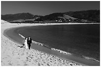 Groom and bride, Carmel River Beach. Carmel-by-the-Sea, California, USA ( black and white)