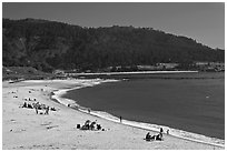 Carmel River Beach and Carmel Bay. Carmel-by-the-Sea, California, USA ( black and white)