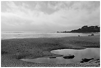 Beach and Carmel Bay, afternoon. Carmel-by-the-Sea, California, USA ( black and white)