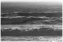 Storm surf at sunset. Carmel-by-the-Sea, California, USA ( black and white)
