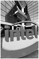 Intel sign and Robert Noyce building. Santa Clara,  California, USA (black and white)
