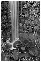 Waterfall and round rocks, Hakone gardens. Saragota,  California, USA (black and white)