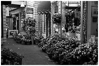 Alley with art galleries and flowers, Sausalito. California, USA ( black and white)