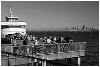 Arrival of San Francisco ferry, Sausalito. California, USA ( black and white)