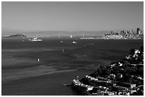 Bay seen from heights, Sausalito. California, USA ( black and white)