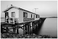 Marin Rod and Gun Club pier. San Pablo Bay, California, USA (black and white)