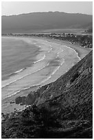 Stinson Beach from above at sunset. California, USA (black and white)