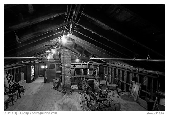 Attic, John Muir Home, John Muir National Historic Site. Martinez, California, USA (black and white)