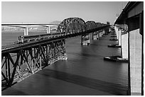 Benicia-Martinez bridges over Carquinez Strait. Martinez, California, USA (black and white)
