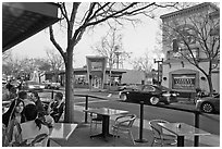 Outdoor tables on main street, Campbell. California, USA ( black and white)