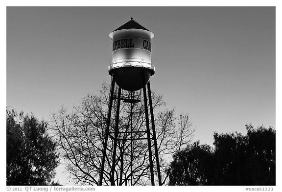 Campbell Water Tower at dusk, Campbell. California, USA