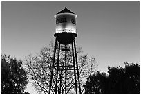 Campbell Water Tower at dusk, Campbell. California, USA ( black and white)