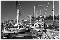 Harbor and power plant, Moss Landing. California, USA (black and white)