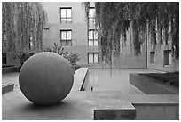 Courtyard of Schwab Center, Stanford Business School. Stanford University, California, USA ( black and white)