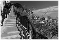 Stairs above harbor, Avalon Bay, Santa Catalina Island. California, USA (black and white)