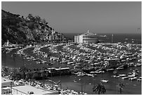Beach, Pier, harbor, and casino from above, Avalon, Catalina. California, USA (black and white)