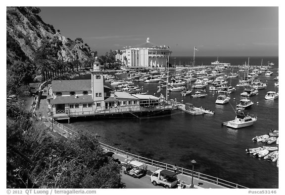 Yacht club, harbor, and Casino, Avalon, Catalina Island. California, USA