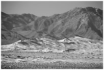 Distant view of Kelso Sand Dunes and Granite Mountains. Mojave National Preserve, California, USA (black and white)