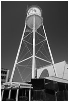 Water tower, Paramount Pictures lot. Hollywood, Los Angeles, California, USA (black and white)