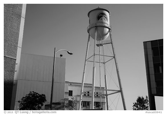 Water tower, old and new buildings, Studios at Paramount. Hollywood, Los Angeles, California, USA