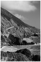 Highway snaking above the ocean. Big Sur, California, USA (black and white)
