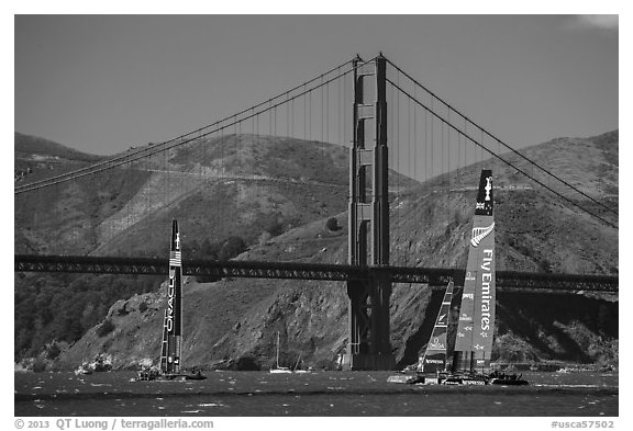 USA and New Zealand America's cup boats and Golden Gate Bridge. San Francisco, California, USA