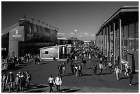Spectators walking out of America's Cup Park. San Francisco, California, USA (black and white)