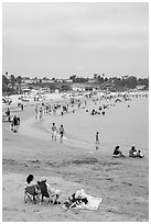 Beach on cloudy day, San Pedro. Los Angeles, California, USA ( black and white)