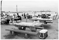 Picnic tables on beach, San Pedro. Los Angeles, California, USA ( black and white)