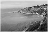 Cove seen from bluffs, Rancho Palo Verdes. Los Angeles, California, USA ( black and white)