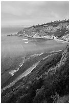 Cove and bluffs, Rancho Palo Verdes. Los Angeles, California, USA ( black and white)