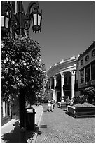 Two Rodeo Drive shopping district. Beverly Hills, Los Angeles, California, USA ( black and white)