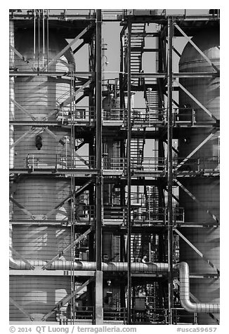 Detail of stairs and process unit in oil refinery, Manhattan Beach. Los Angeles, California, USA (black and white)