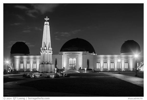 Griffith Observatory at night. Los Angeles, California, USA (black and white)