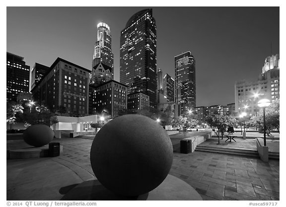 Pershing Square and skyscrappers at dusk. Los Angeles, California, USA (black and white)