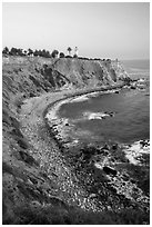 Point Vicente Lighthouse and coastline. Los Angeles, California, USA ( black and white)