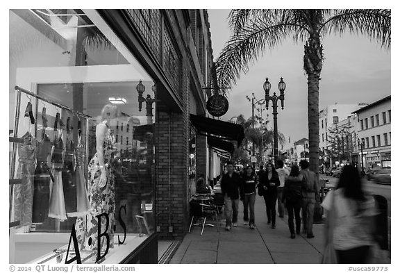 Downtown street at dusk. Pasadena, Los Angeles, California, USA (black and white)