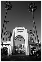 Entrance gate, Universal Studios. Universal City, Los Angeles, California, USA ( black and white)