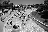 Floating in waterpark, Legoland, Carlsbad. California, USA ( black and white)