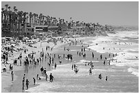 Crowded beach in summer, Oceanside. California, USA ( black and white)