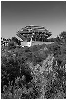 Geisel Library seen from parkland, UCSD. La Jolla, San Diego, California, USA ( black and white)