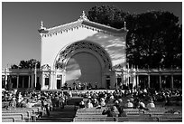 Music performance at Spreckels Pavilion. San Diego, California, USA ( black and white)